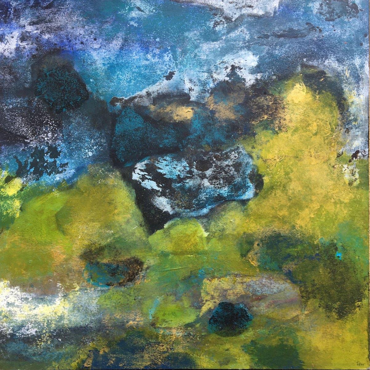 Paysage en vert et bleu