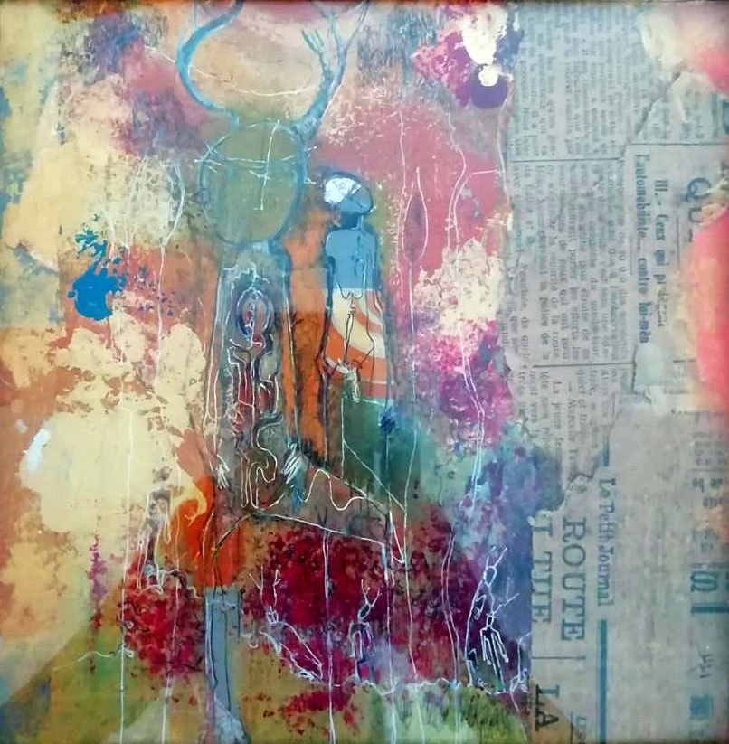 Pastel et collage